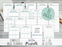 Monthly Meal Planner Printable Complete Meal Planner Printable Meal Planner Kit Grocery Checklist Weekly Meal Planner Monthly Meal Plan Food Planner Diet Planner
