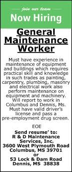 General Maintenance Resume Magnificent General Maintenance Worker Rd Maintenance Columbus MS