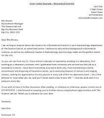 Cover Letter For Computer Science Science Cover Letter Sample Biomedical Scientist Cover Letter