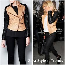 details about nwt zara real leather biker jacket with zips two tone black camel beige coat