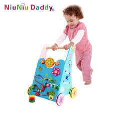 baby toys wooden toddler stroller children multipurpose game push car toy baby walkers toy block building baby gift