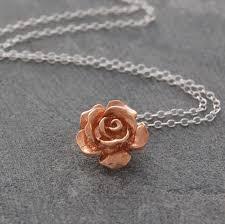 rose gold flower sterling silver necklace