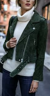 we are head over heels for this dark green suede leather biker jacket it has a beautiful soft finish and the leafy green hue is made for autumn styling