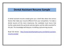 Dental Assistant Resume Sample Extraordinary Download Our Sample Of Dental Assistant Resume Sample Pdf Www