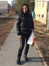 women s shiny padded down puffer jacket black shiny black leggings outfit lycra wet look instagram