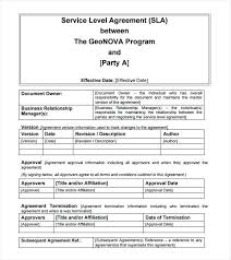 Internal Service Level Agreement Template Basic Sample Agreements ...