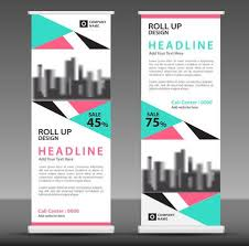 Advertisement Brochure Magnificent Bluepink Roll Up Banner Template Pull Up Layout Business Brochure