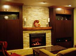 Marvelous White Stacked Stones Fireplace Ideas With Wooden Floating Mantel  Decors Added Brown Wooden Cabinetry Storage Also Brown Seater Sofa In  Romantic ...