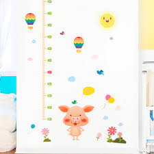 Growth Chart Ruler Decal Cartoon Wall Stickers For Kids Rooms Height Measure Hot Air
