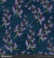 Blauw Denim Met Kleurrijke Bloemenprint Vector Naadloos Behang