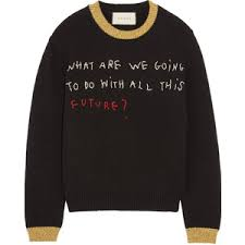 gucci sweater. gucci embroidered metallic-trimmed wool sweater c