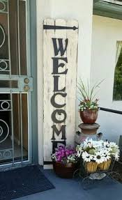 open front door welcome. Welcome Sign. Cedar Boards, Sanded, Paint, Sand To Distress, Then Stain. Add Painted Wooden Letters Of Choice And Iron Brackets For Detail. Open Front Door O