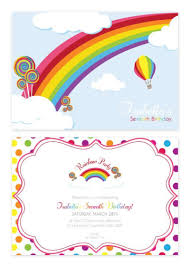 Personalised Birthday Invitations For Kids Rainbow Personalised Party Invitations Custom Printed