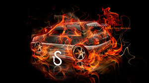 toyota starlet fire abstract car