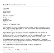 ... Dear Sample Cover Letter For Cosmetologist I Am Applying For The  Position Of Instructor At Your ...