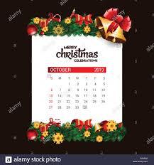 2019 October Calendar 2019 October Calendar Design Template Of Christmas Or New Year