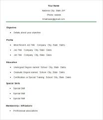 Free Simple Resume Templates Impressive Simple Resume Template 28 Free Samples Examples Format Download