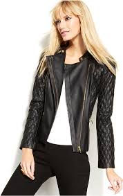black quilted leather jackets inc international concepts quilted faux leather motorcycle jacket
