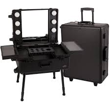 22 75 in station studio rolling makeup salon case with led light box c611 4 legs