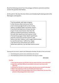 english literature romeo juliet example exam essay response new romeo juliet mock exam example assessment aqa english literature new 1 9 spec