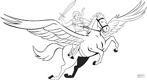 Small Picture Valkyrie Riding Pegasus coloring page Free Printable Coloring Pages