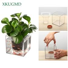 creative transpa flower pot automatic water absorption pot automatic irrigation hydroponic plastic desktop square fish tank