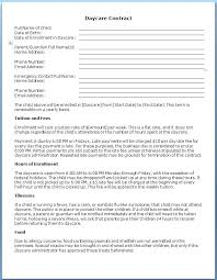 Daycare Contract Template Child Care Contract Template