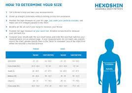 junior size size charts carre technologies inc hexoskin