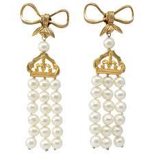 chanel massive 4 pearl drop chandelier earrings vintage 1970s for