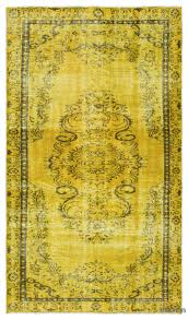 yellow over dyed turkish vintage rug 4 10 x 8 5 58 in x 101 in