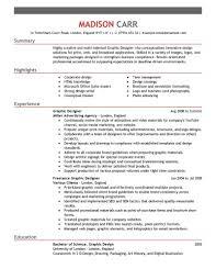 Graphic Design Resume Summary Oneswordnet