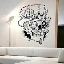 skull wall art skull wall sticker skull punk rock creative personality removable vinyl wall art stickers skull wall art glam skull
