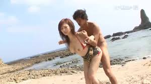 Horny busty and hairy Japanese hardcore orgy fuck on the beach.
