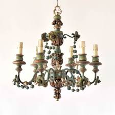 vintage italian wood chandelier with wood beads
