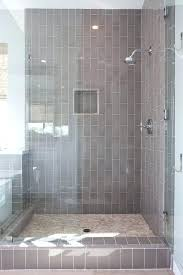 interior contemporary shower boasts a gray subway tiled ceiling and walls inside grey subway tile