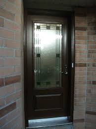 smooth stained glass single door installed by fiberglass