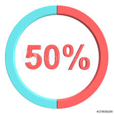 50 Percent Pie Chart 50 Percent Blue Red And White Pie Chart Percentage Vector