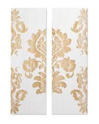 on damask wood wall art with two white and natural wood panels