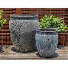 ceramic planters fossil grey