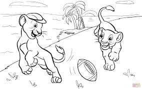 Small Picture Lions Cubs Playing American Football coloring page Free