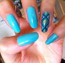 Captivating Blue Nail Art Design On Long Nails Idea With Geometric ...