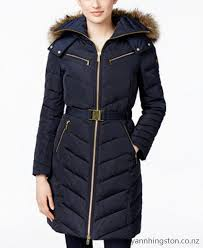 michael michael kors faux fur trim hooded chevron belted down coat women ggnd191