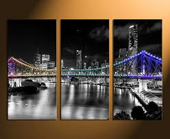 3 piece large canvas city home decor night city photo canvas bridge artwork on 3 piece wall art with 3 piece artwork greece multi panel art cityscape canvas wall art