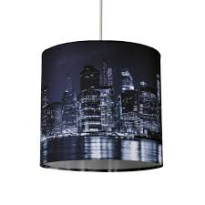 20cm lamp shade ceiling light digital printed fabric new york skyline at night