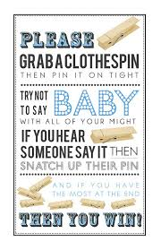Baby Shower Clothes Pin Game Extraordinary Don't Say Baby Clothespin Game Blue Printable Baby Shower Games