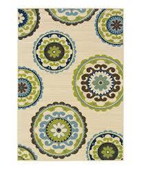 ivory green circles hyrcania indoor outdoor rug