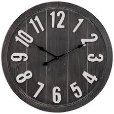 gray white round wood wall clock
