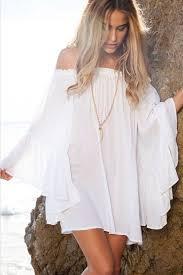 <b>White Off</b> Shoulder Flare Sleeve <b>Vintage</b> Summer Dress | <b>Vintage</b> ...