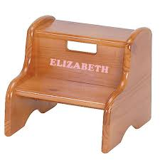 personalized wood step stool honey oak stain