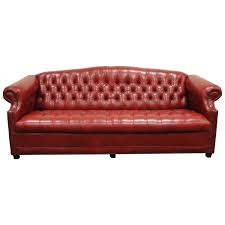 vintage red leather english chesterfield style on tufted sofa by jasper for at 1stdibs
